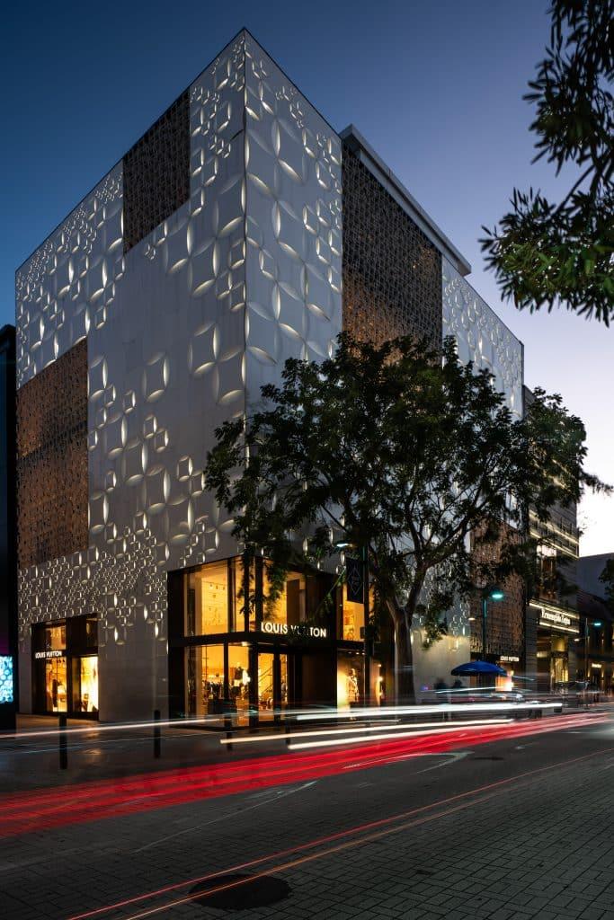 Boutique Louis Vuitton de nuit du Design District à Miami en Floride (Architectes : Jun Aoki and Mirei Uchibe) - Michael BOUTON - Photographe Architecture